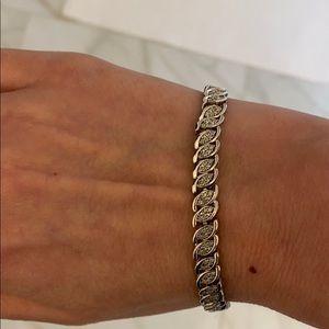 Sterling silver and diamond tennis bracelet